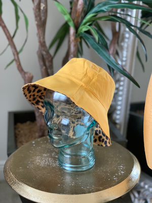 Reversible Animal Print Bucket Hat Yellow
