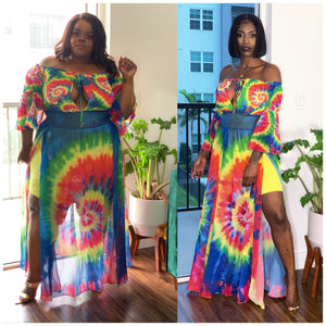Tye Dye Lux Off Shoulder Maxi Dress