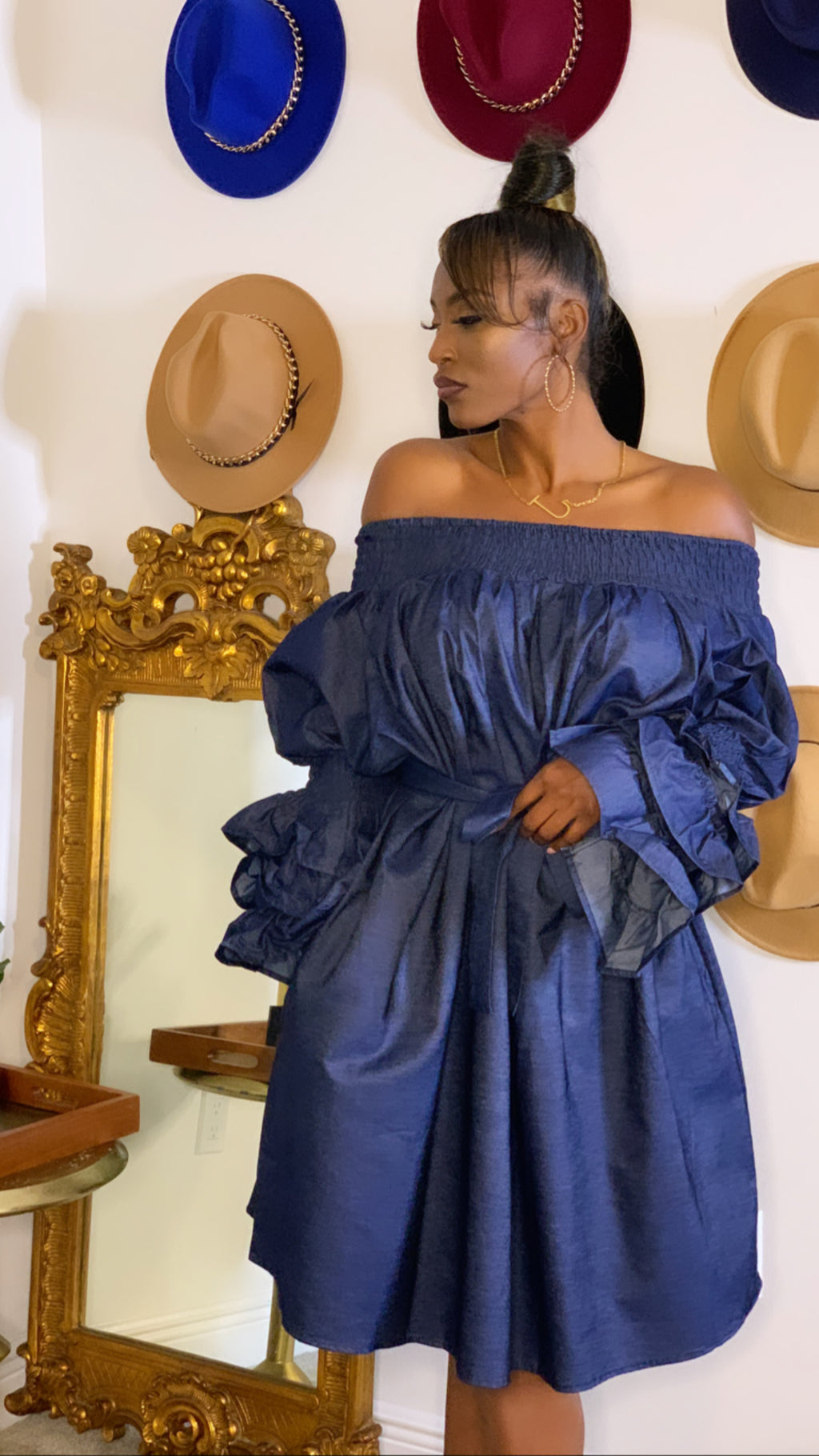Denim One Size Off Shoulder Dress