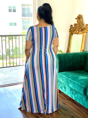 Strip Maxi Dress Blue