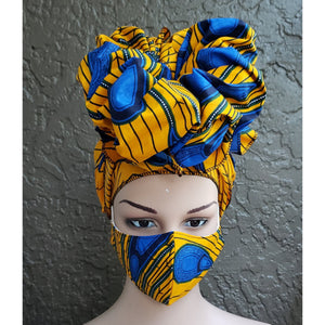 Fashion African Print Mask and Full Headwrap Yellow