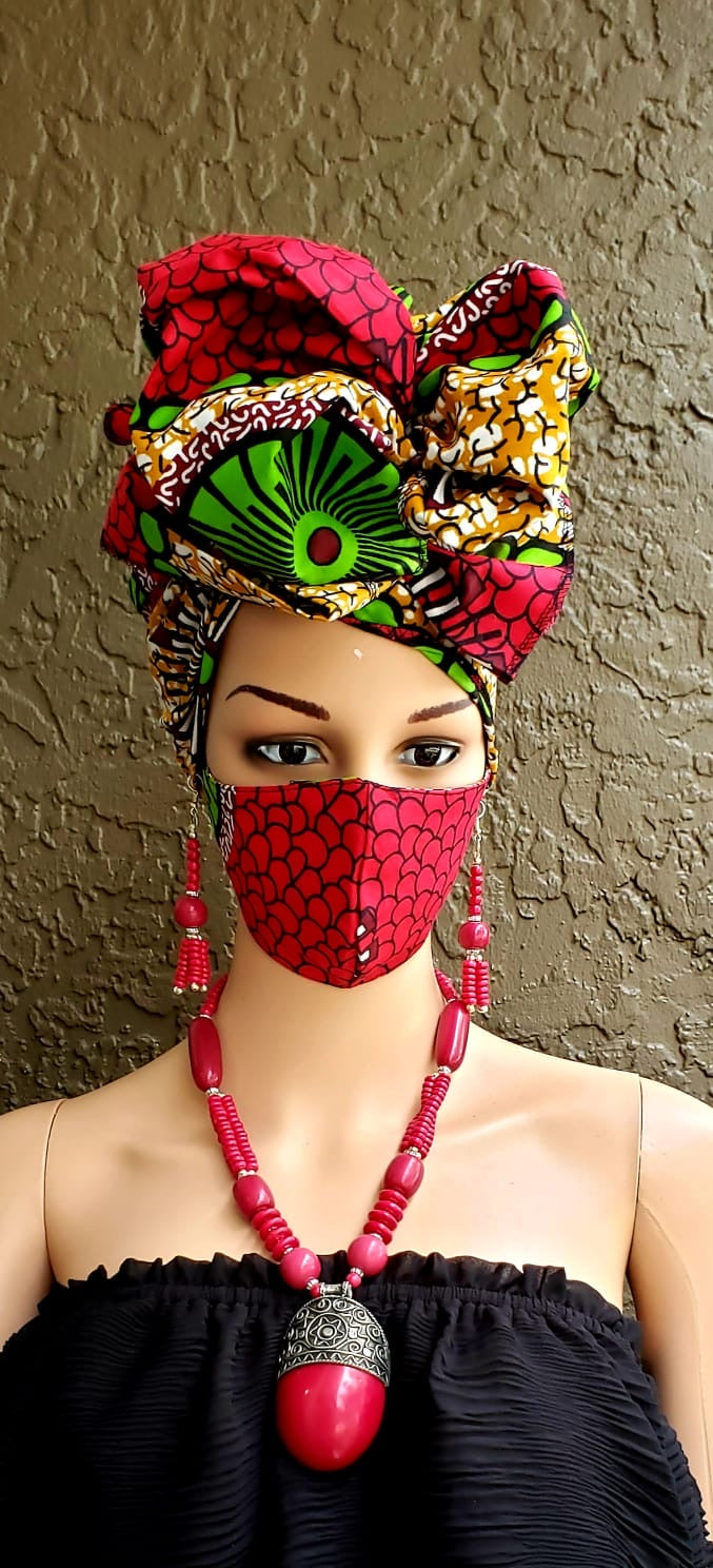 Fashion African Print Mask and Full Headwrap Pink Green Brown