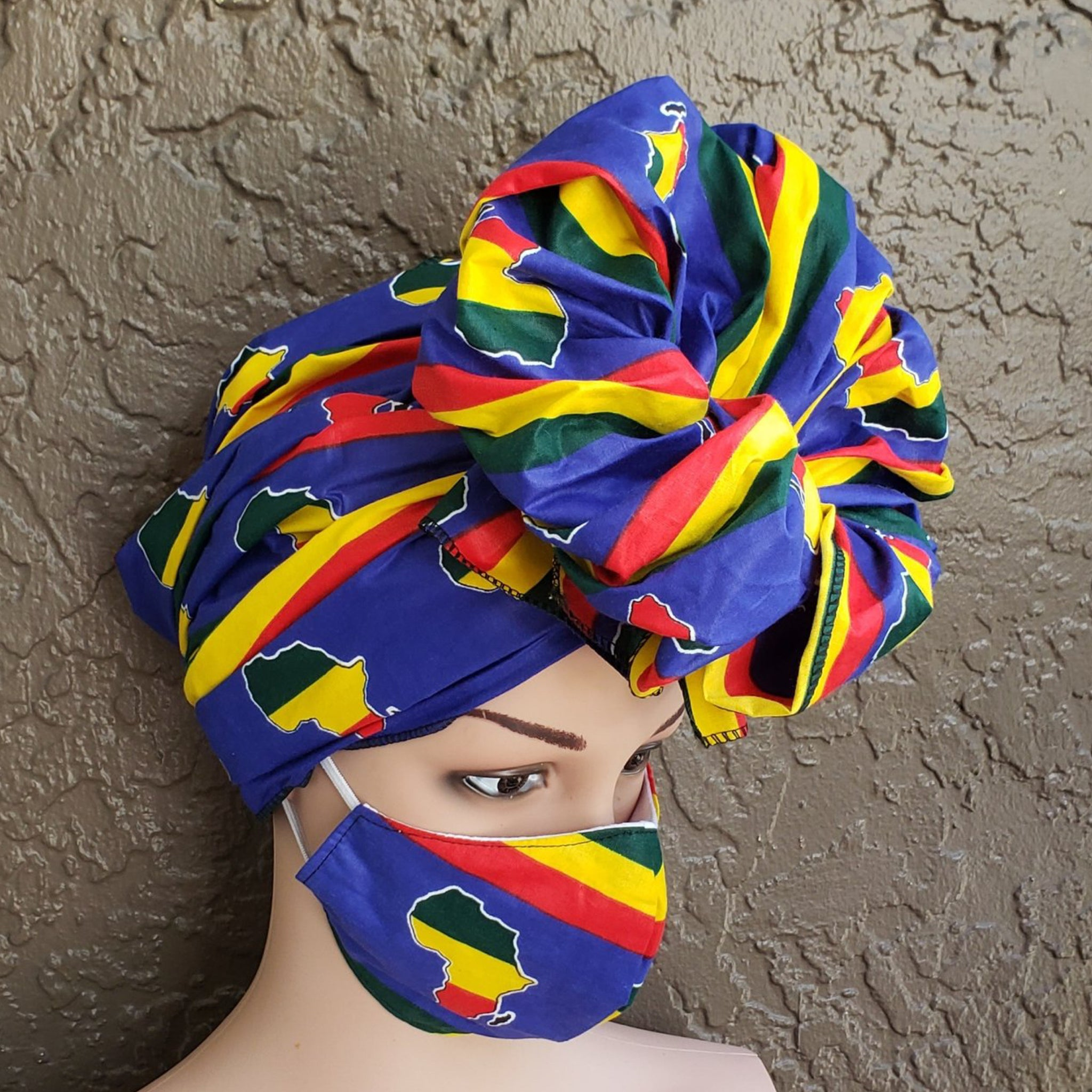 Fashion African Print Mask and Full Headwrap Blue Red Yellow