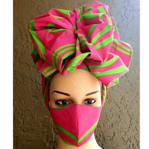 African Print Mask and Full Headwrap Pink Green