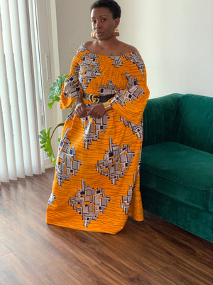 Sunkist Orange African Maxi Dress