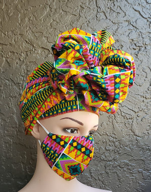 Fashion African Print Mask and Full Headwrap Yellow Red Green