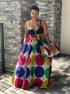 Colorful Tribal Maxi Skirt with Chain Purse