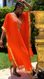 Chiffon Jewel Maxi Dress Orange