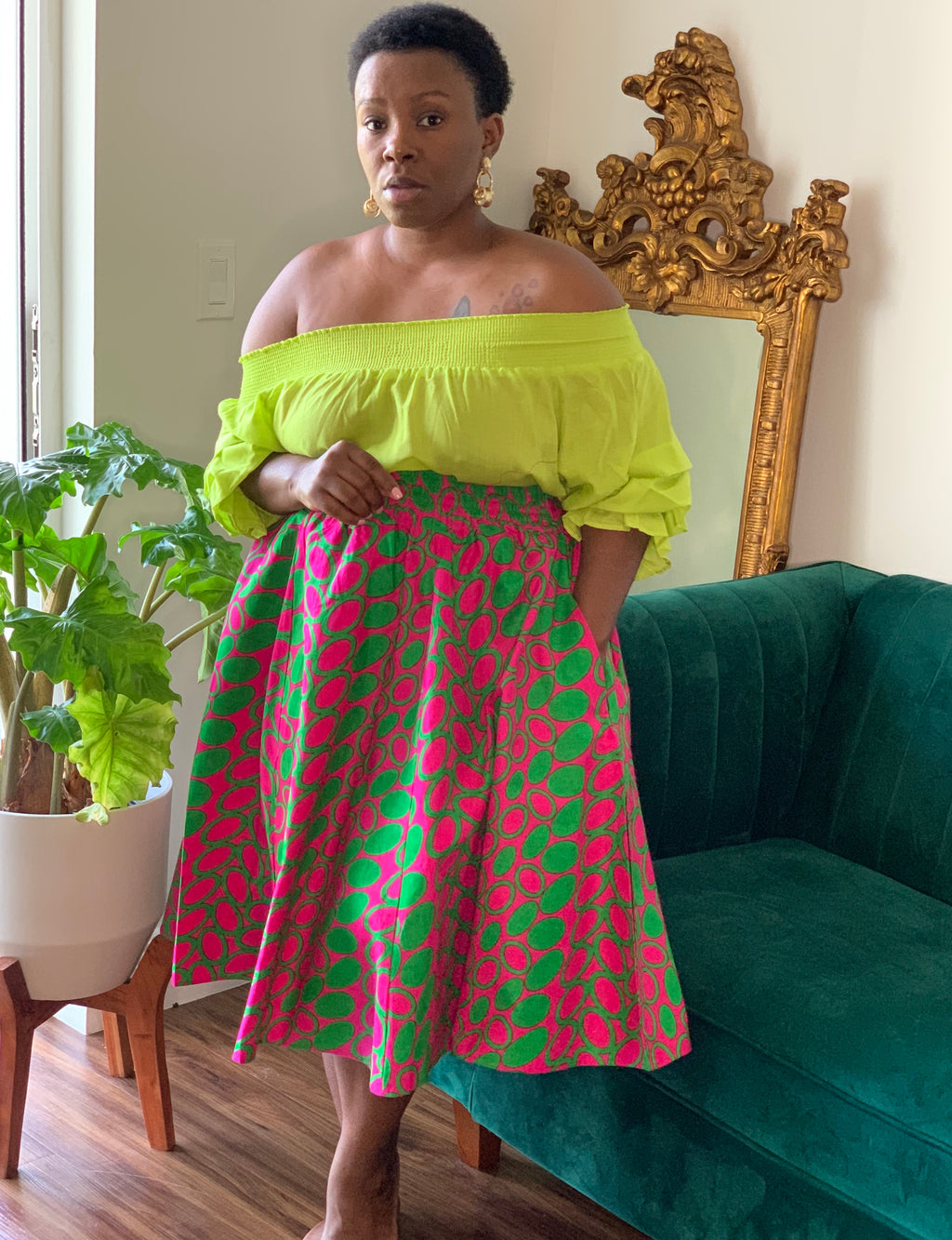 Polka Pink Green  Midi Length Skirt