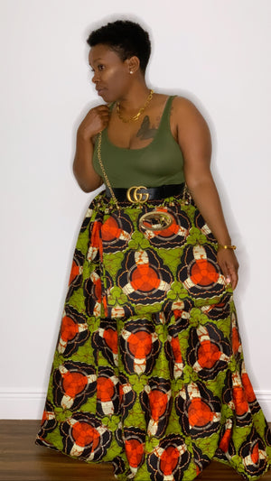 Tribal Maxi Skirt with Chain Purse Olive