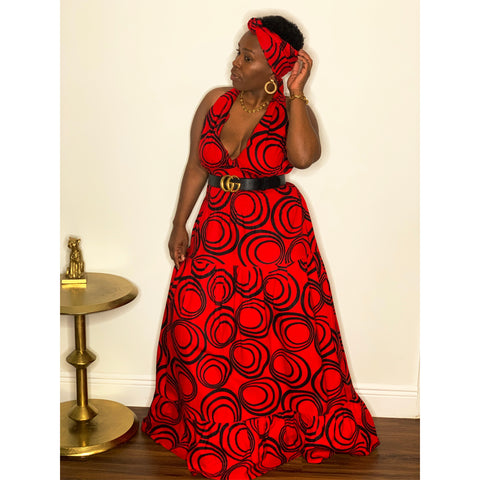 Royal Maxi Stretch Dress Red Black