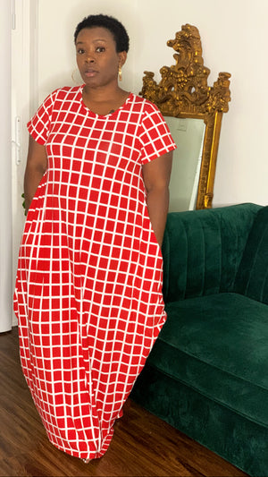 Red White Matrix Dress Print