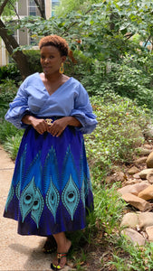 Blue Ray Mid Length Maxi Skirt