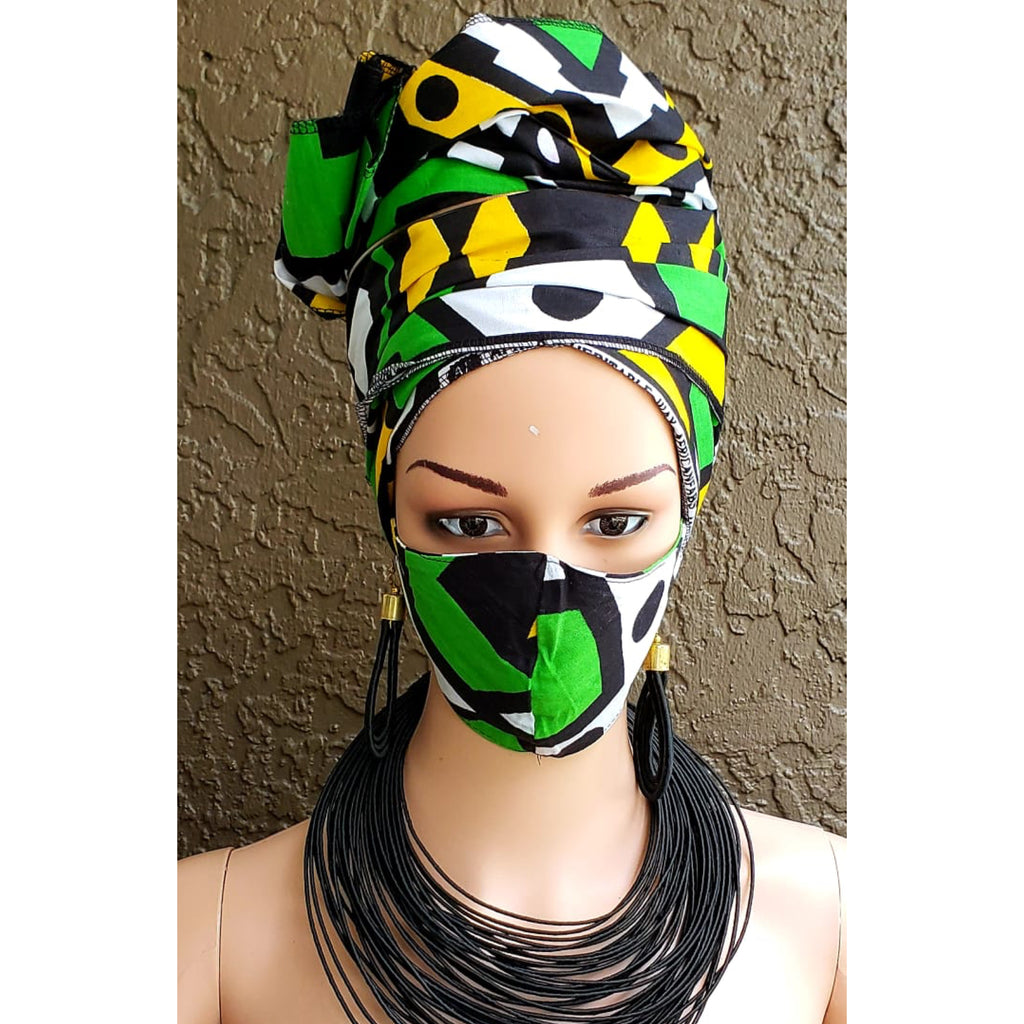 Fashion African Print Mask and Full Headwrap Green Black White