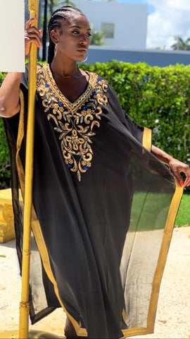 Chiffon Jewel Maxi Dress Black