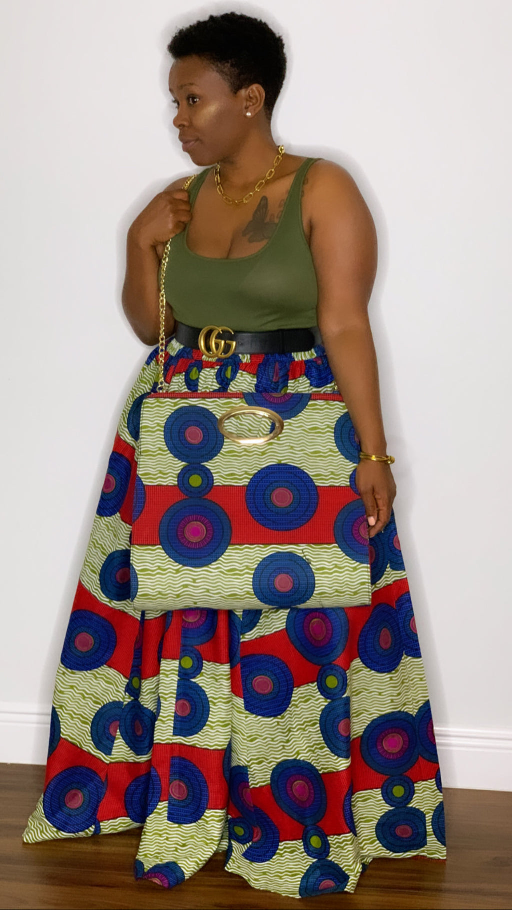 Tribal Maxi Skirt with Chain Purse Blue