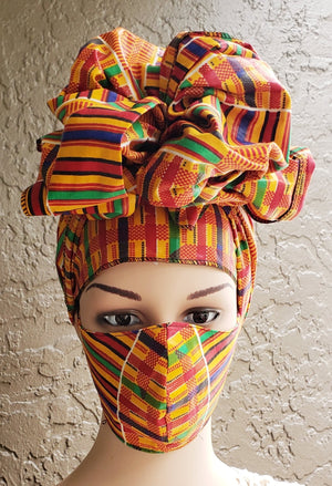 Fashion African Print Mask and Full Headwrap Kente Yellow