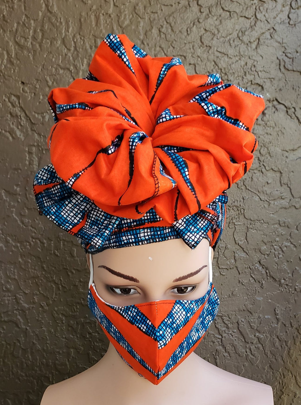 Fashion African Print Mask and Full Headwrap Orange