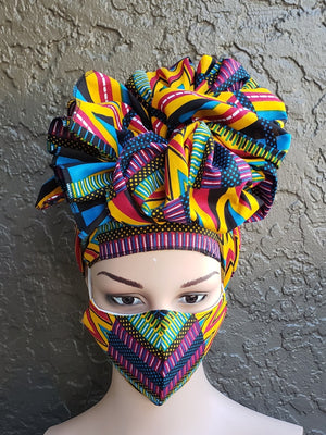 Fashion African Print Mask and Full Headwrap Yellow Purple