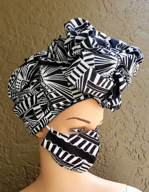 Fashion African Print Mask and Full Headwrap Black White