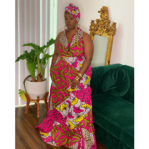 Royalty Maxi Dress Yellow Pink