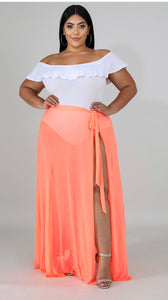 Vaca Vibes Sheer Skirt Orange