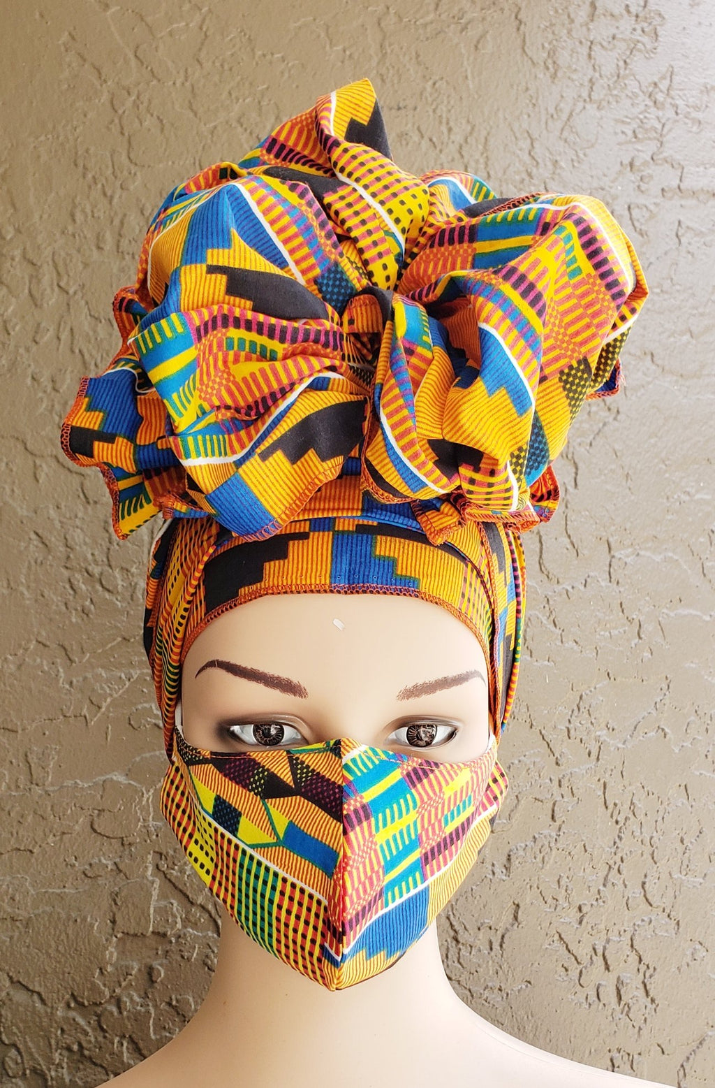 Fashion African Print Mask and Full Headwrap Kente Blue