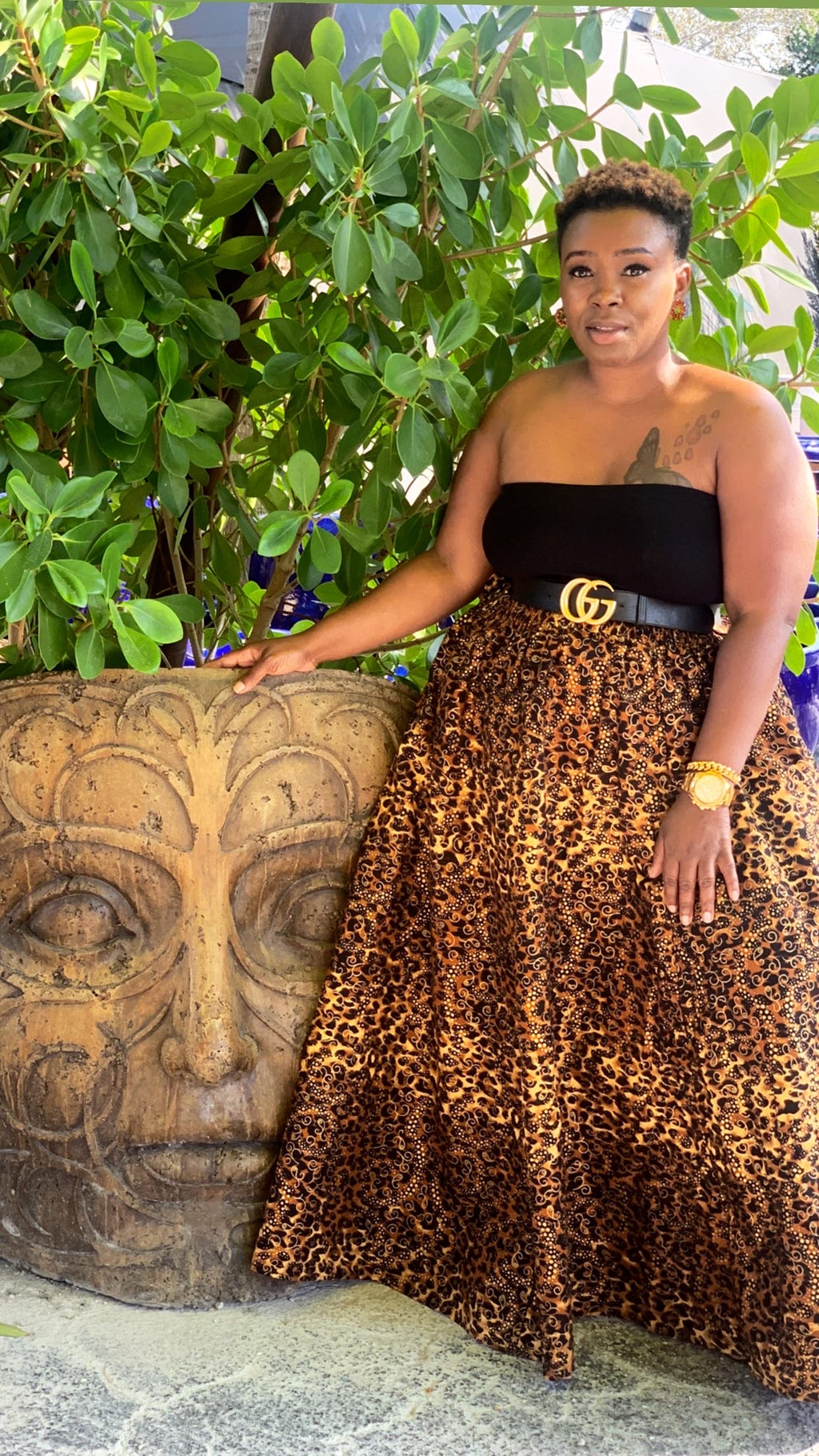 Animal Print Brown Gold African Maxi Skirt
