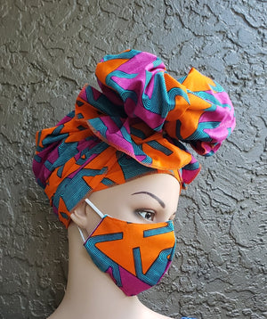 Fashion African Print Mask and Full Headwrap Bright Orange Purple