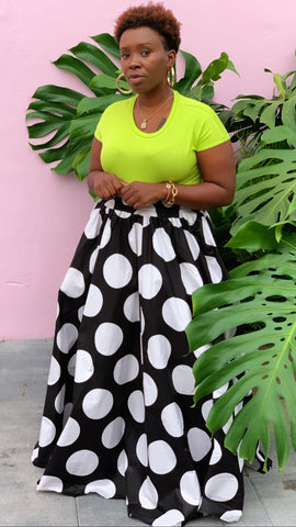 Big Polka Dot Black White Maxi Skirt