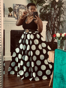 Black White Polka Oversized Dot Maxi Skirt