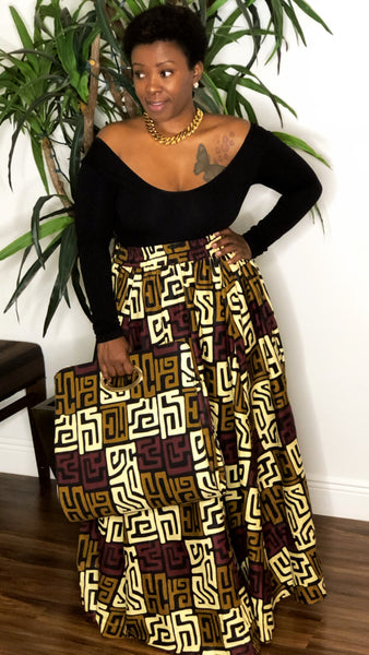 Tribal Maxi Skirt with Chain Purse