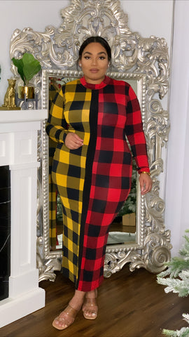Holiday Plaid Body Dress Yellow Long Sleeve