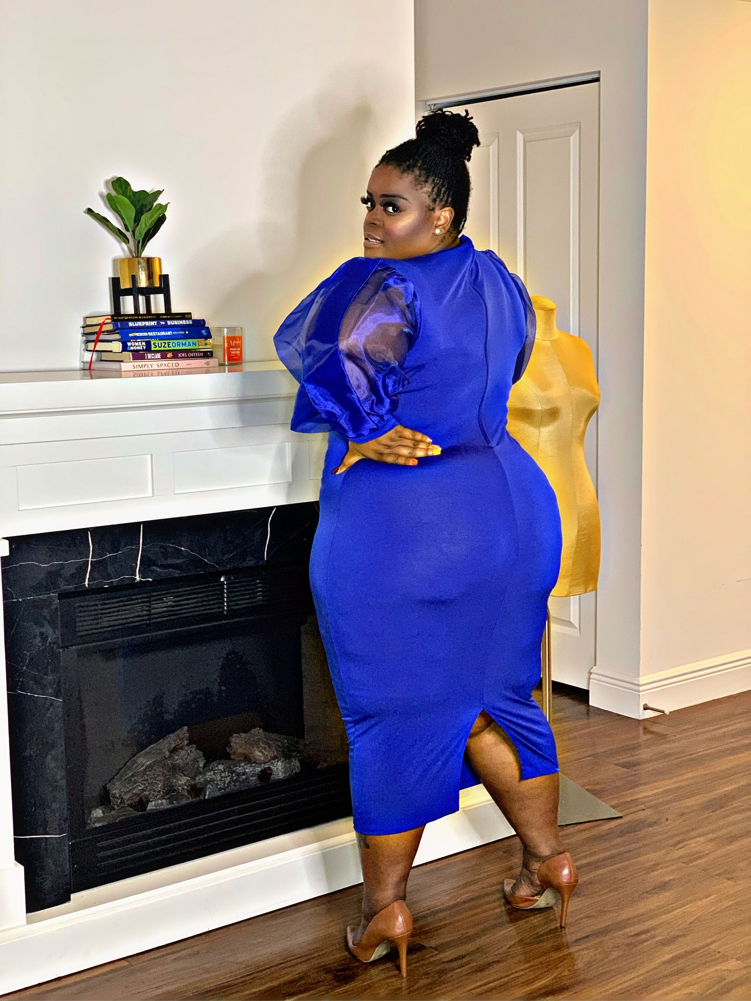Over The Top Ebony Dress Blue