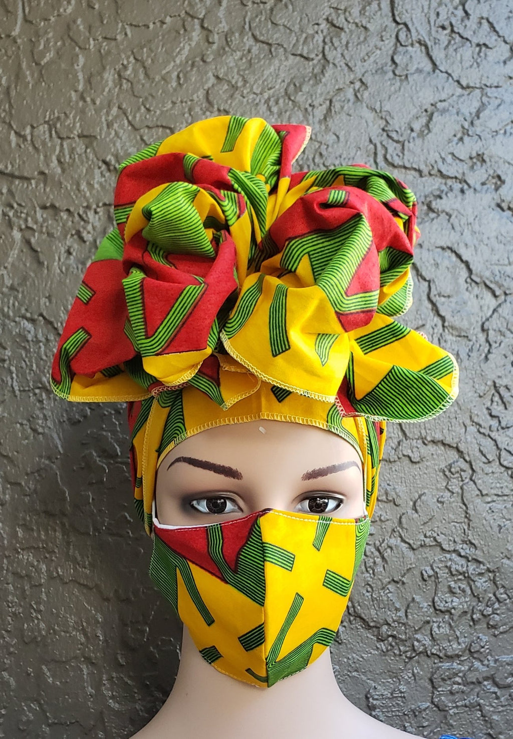 Fashion African Print Mask and Full Headwrap Yellow Red