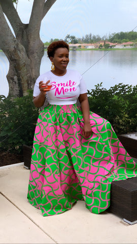 Swirl Pink Green Maxi Skirt