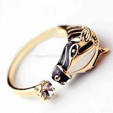 Beautiful Horse Ring With Crystal Stone Tail