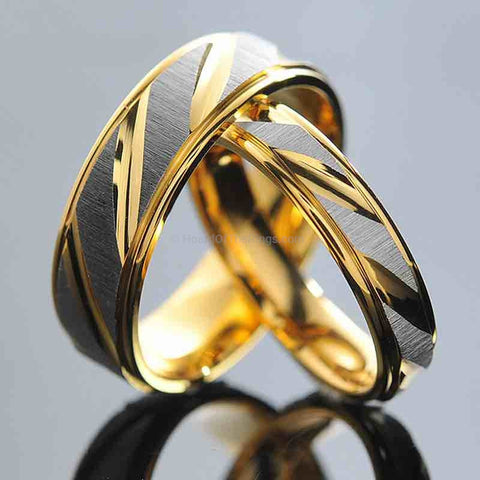 2 For 1 Lovers Rings - Black + Gold - HoardOfTheRings.com