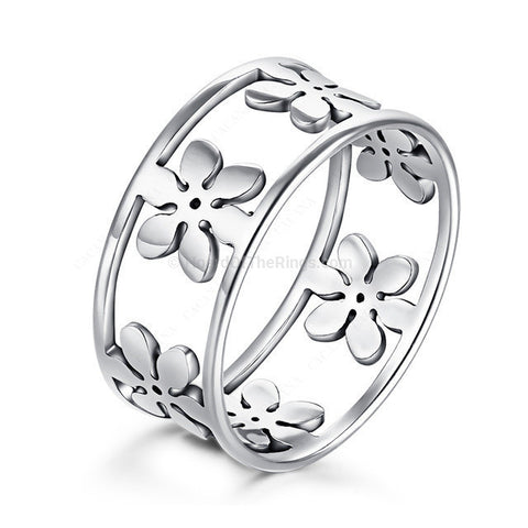 6 Individual Flowers In Silver Plated Ring