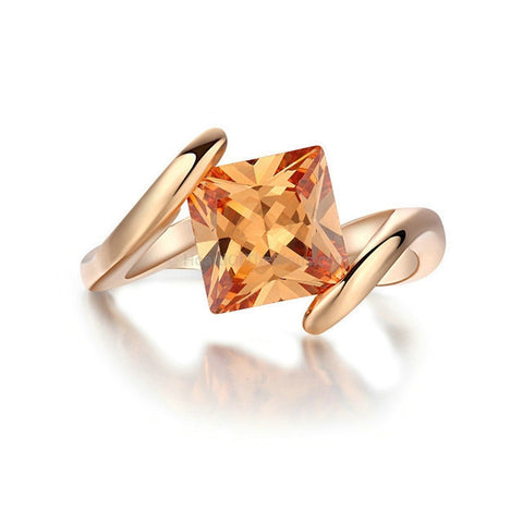 Orange Crystal 18K Rose Gold Ring