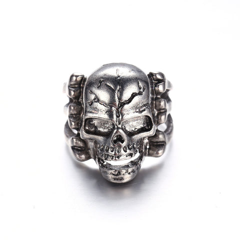 Old Crackhead Smiling Skull Ring