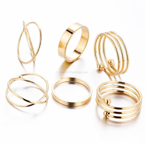 6 Piece Gold Ring Set - HoardOfTheRings.com