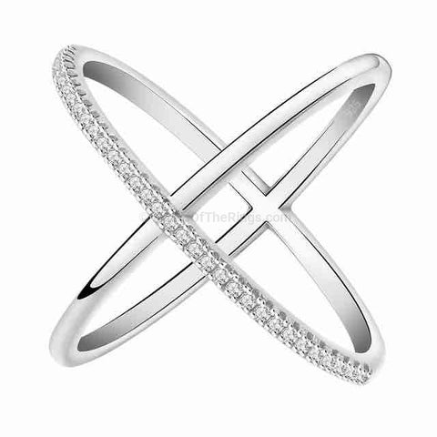 Rose Gold or Silver Infinity Cross Ring With Cubic Zirconia Stones - HoardOfTheRings.com