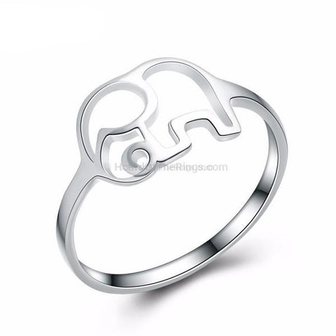 Silver Plated Elephant Ring - HoardOfTheRings.com