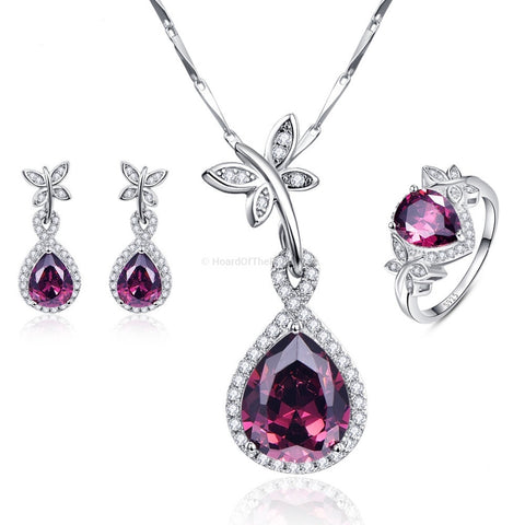 Zirconia Water Drop 925 Sterling Silver Necklace + Earrings + Ring Set - HoardOfTheRings.com