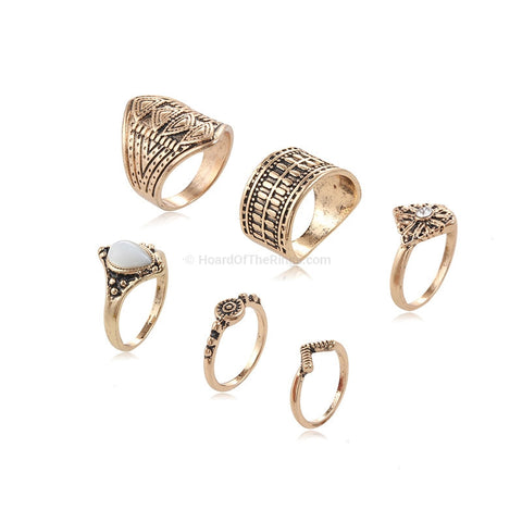 6 Piece Ring Set In Silver or Gold - HoardOfTheRings.com