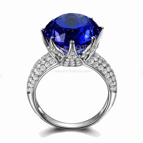 8ct Blue CZ 925 Sterling Silver Ring - HoardOfTheRings.com