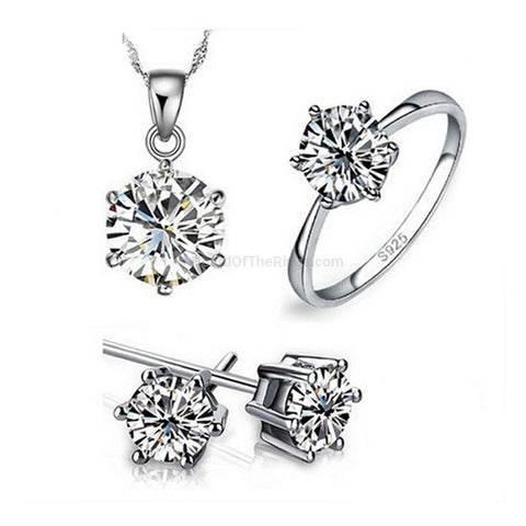 925 Sterling Silver Sparkling CZ Necklace + Earrings + Ring - HoardOfTheRings.com