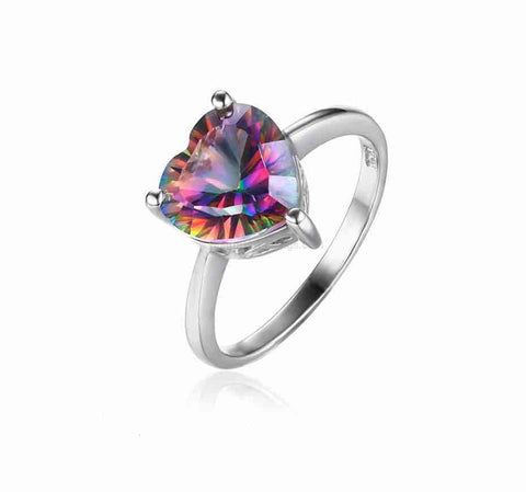 Heart of Fire Sterling Silver Multi Color Topaz Ring