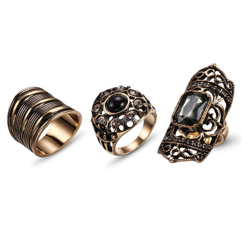 3PCS Ancient Gold Ring Set